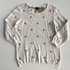 BASIC EDITIONS M SWEATER-Ivory w Tan Dots-NWT